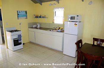 view of the kitchen of the bungalow at Tianas
