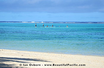 tourists paddle board and snorkelling at the Fruits of Rarotonga